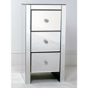 MIRRORED GLASS 3 DRAWER SLIM BEDSIDE TABLE
