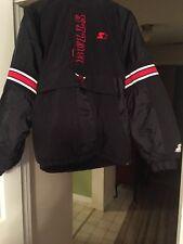 Vintage Chicago Bulls Starter Jacket 1990s Black Coat Half Zip Pullover KIDS XL