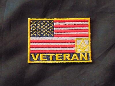 Patriotic Veteran Masonic Square Compass Patch Iron Sew Freemason Fraternity NEW