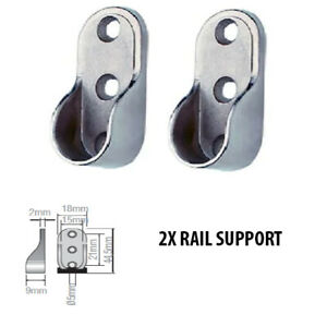 2-X-Rail-Hanger-Standard-Tube-Support-Wardrobe-Rod-Socket-Fitting-Round-Bracket