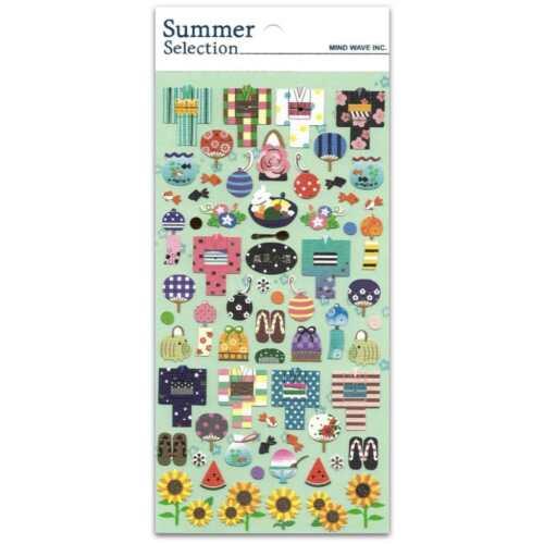 CUTE SUMMER KIMONO STICKERS Sheet Paper Craft Scrapbook Japanese Icon Japan Seal