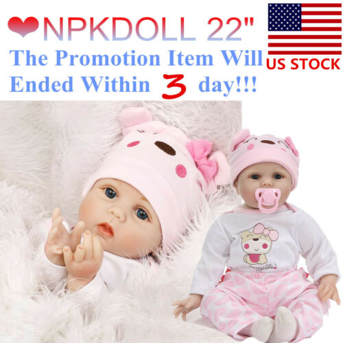 22/'/' Silicone Handmade Re born Baby Doll Realistic New born Lifelike Kids Toy US