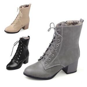 Vintage-ankle-boots-Casual-Oxford-Block-Heel-Shoes-Womens-Eyelet-booties-UK-0-9