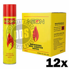 12 cans Neon Butane Ultra Premium Refined Universal Refill Lighter Cans 300 mL