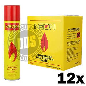 12-cans-Neon-Butane-Ultra-Premium-Refined-Universal-Refill-Lighter-Cans-300-mL