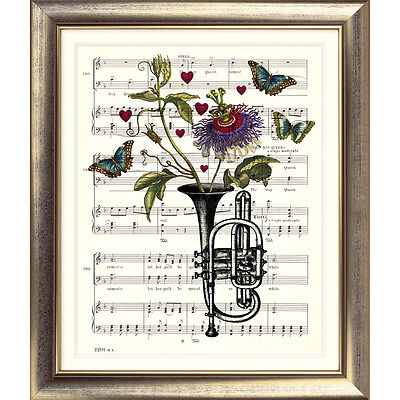 ART PRINT ORIGINAL VINTAGE MUSIC SHEET Page TRUMPET Flower Picture BUTTERFLY ART