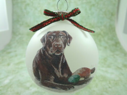 brown chocolate lab dog D008 Hand-made Christmas Ornament Labrador Retriever