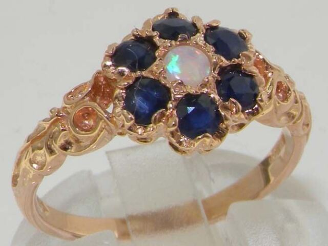 9ct Rose Gold Ladies Opal & Sapphire Daisy Flower Ring