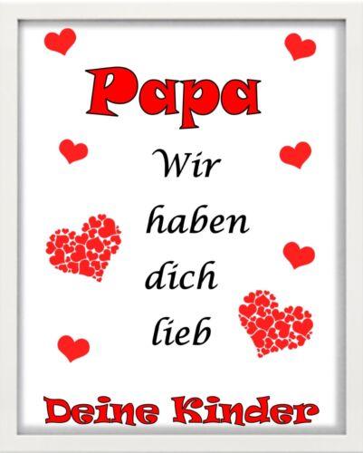 """wir haben dich lieb/"""" weiß /""""Papa Bilderrahmen personalisiert Geschenk"""