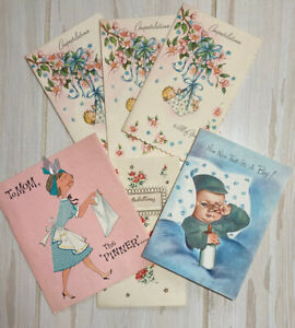 Vintage-Lot-6-Greeting-Cards-Baby-Newborn-New-Parents-Scrapbooking-Crafts-Used