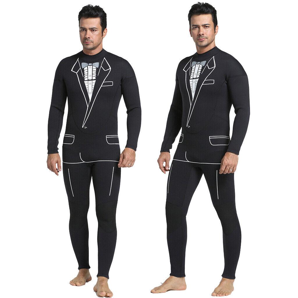 Traje de Esmoquin Negro Para Hombre 3mm Neopreno Cuerpo Completo Traje de Surf Buceo Salto