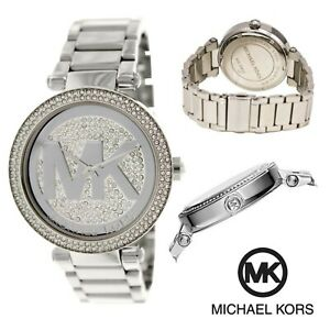 Details about NEW AUTHENTIC MICHAEL KORS PARKER SILVER CRYSTALS WOMEN'S MK5925 WATCH