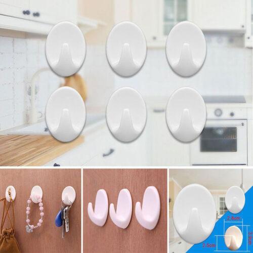Plastic Oval Self Adhesive Wall Door Hook Hanger Bag Keys Sticky Holder Hooks