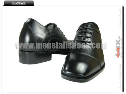 Crickhowell JD1502 Leather Sole Men Black Captoe Shoes to Increase Height