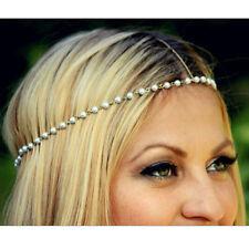 Bohemian Women Metal Pearl Head Chain Jewelry Forehead Hair Band Headband Piece