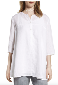 EILEEN FISHER M ORGANIC LINEN ALINE 3 4 SLEEVES TUNIC COVER UP Weiß  NWT