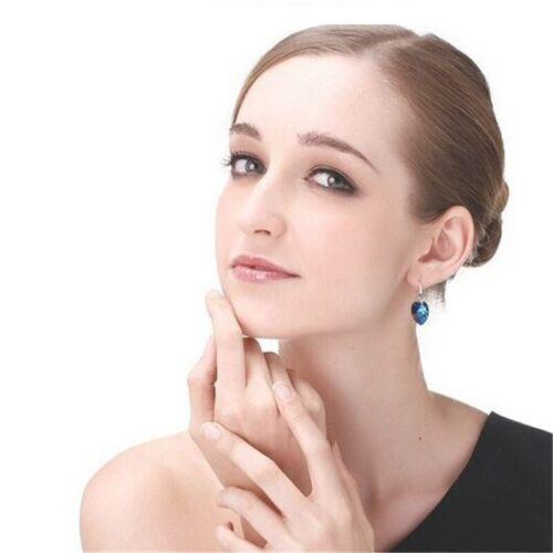 Stud Earrings Drop Jewellery Silver Color Womens Hook Heart Ocean Blue Fashion
