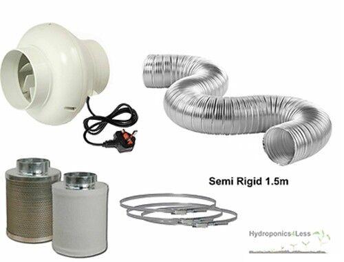 """h 4 /""""en ligne Filtre Carbone Fan semi rigide Kit hydroponique Cultiver ventilation 110m3"""