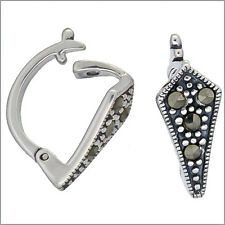 1PC Antique Sterling Silver Marcasite Pearl Enhancer Pendant Connector #97088