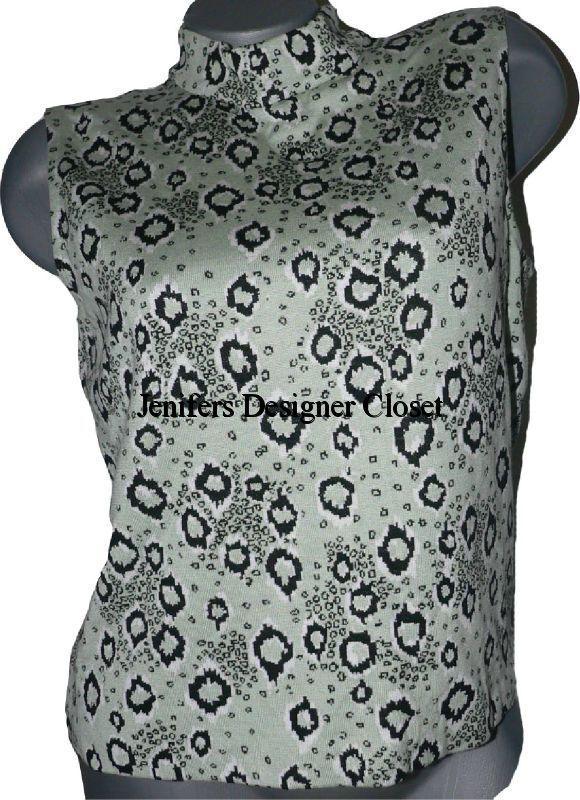 ST. JOHN mock turtleneck Grün schwarz top amazing M sleeveless zipper shirt