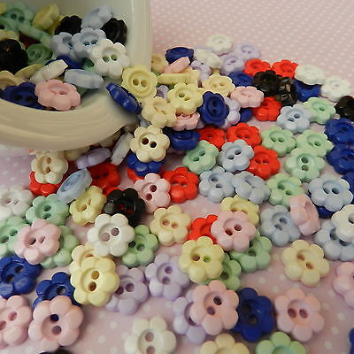 Pretty Daisy buttons 15mm diameter sold per 10 buttons various colours