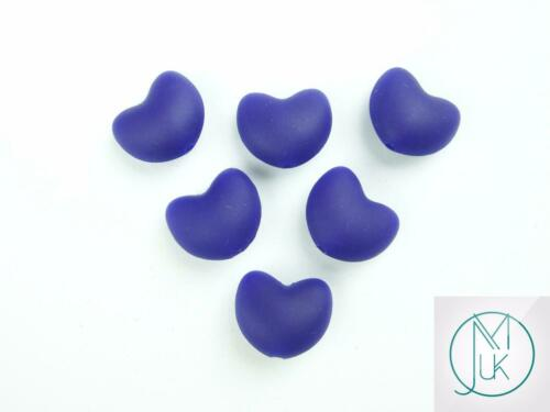 5x Heart Silicone Beads for Teething Jewellery Making 11 Colors to Choose