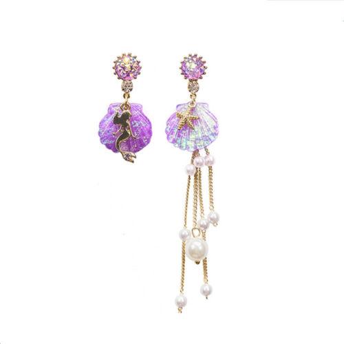Crystal Shell Asymmetric Long Tassel Pearl Mermaid Women Dangle Drop Earrings LD
