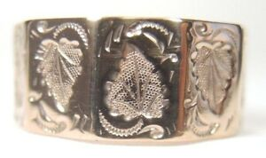 Victorian-Art-Deco-Vintage-Wedding-Band-Unisex-9K-Rose-Gold-Size-10-5-UK-U1-2