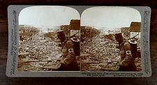 SANITARY WORK ON BATTLELINE DISINFECTING THE RUINS WITH SPRAY WWI Stereoview