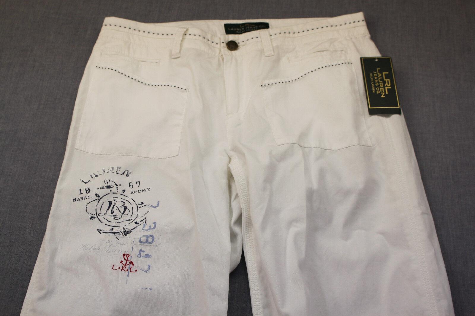 RALPH LAUREN Women White Naval Academy Print Embroidery Pants  4  30x31 NWT  109