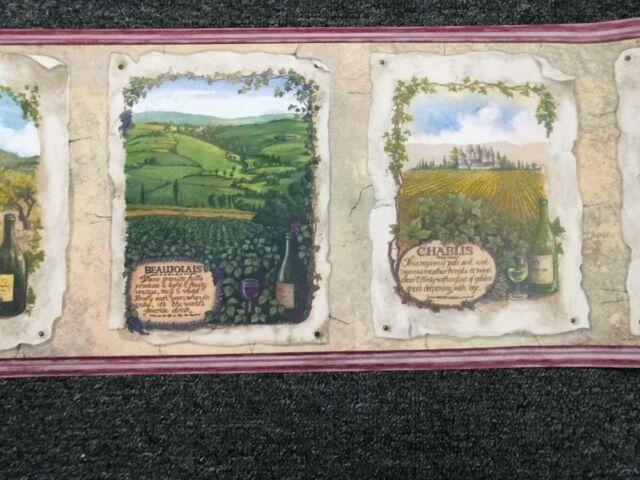 Wallpaper Border Country Tuscan Vinyard Wine theme Maroon