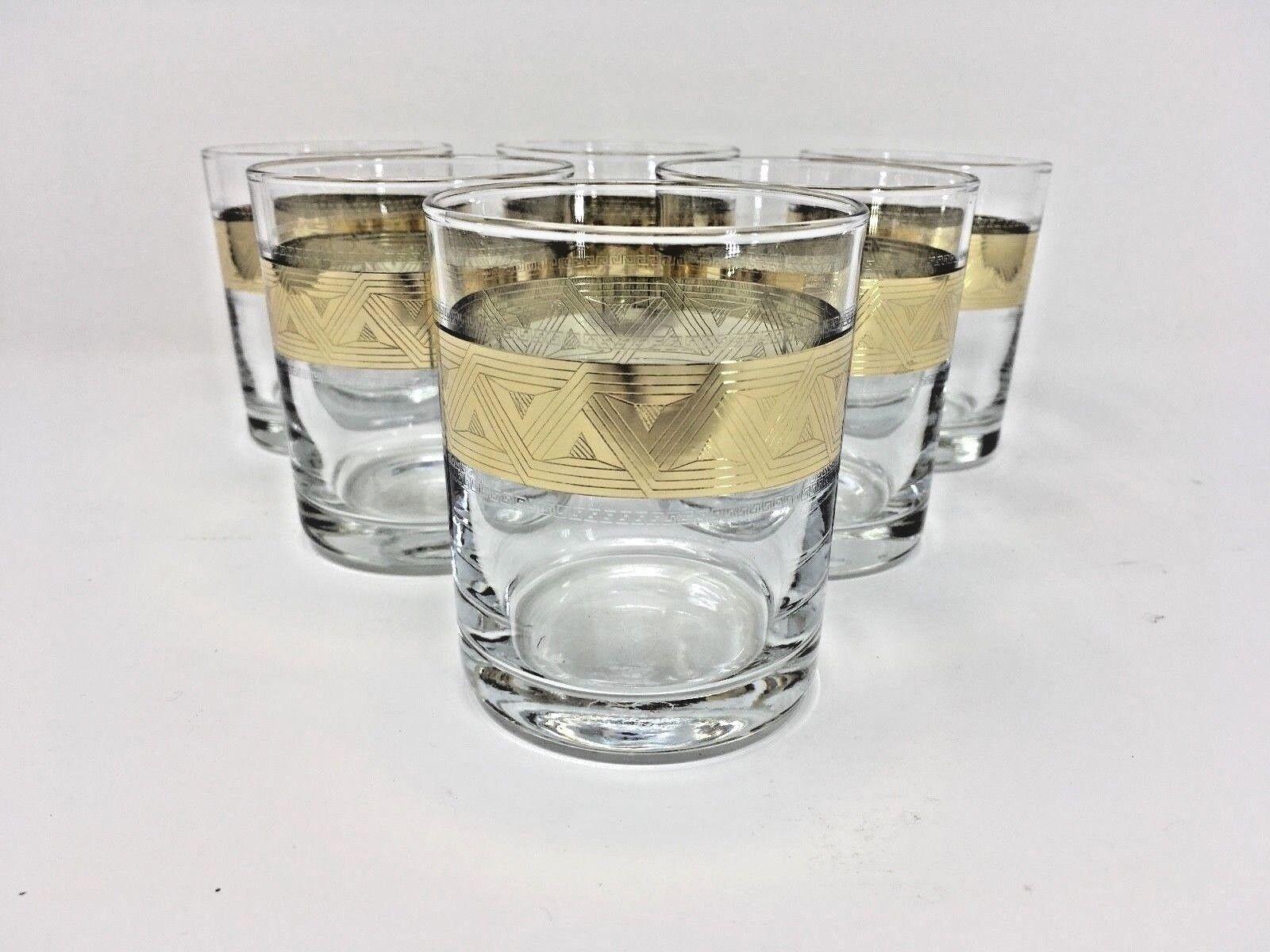 Crystal Glass Set of 6 Tumblers  7 oz  Whisky Cognac gold Rimmed Design