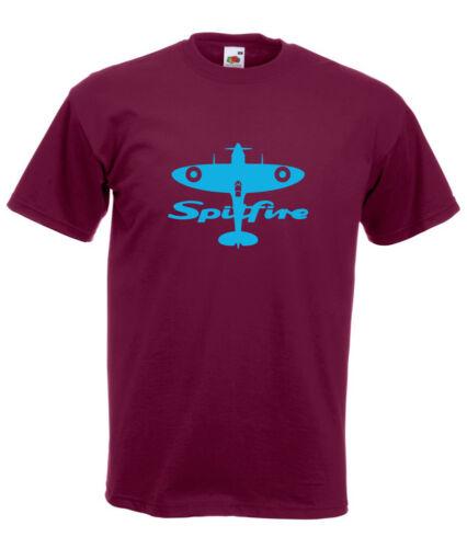 Spitfire Plane Sky Blue Design Men/'s Burgundy T-Shirt