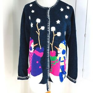 Details about The Quacker Factory Size M Embroidered Snowman Ugly Christmas  Cardigan Sweater