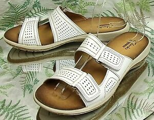 CLARKS-WHITE-BROWN-LEATHER-OPEN-TOE-SANDALS-SLIDES-SLIP-ON-SHOES-WOMENS-SZ-7-5-M