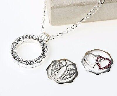 SCHWARZ KRISTALLE COIN MEDAILLON Kette Anhänger Strass silber Münze Halter coins