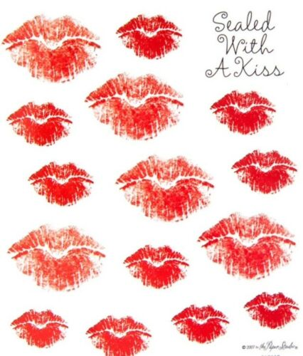 Love Kissing Lips Sealed With a KISS Scrapbook Stickers