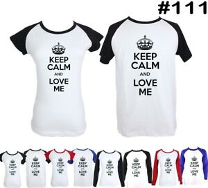 Keep-Calm-And-Love-Me-Design-Couple-T-Shirt-Men-039-s-Women-039-s-Graphic-Tees-Tshirts