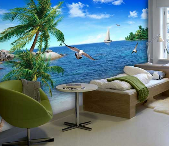 3D Pretty Sea Scenery 9 Wall Paper wall Print Decal Wall Deco Wall Indoor Murals