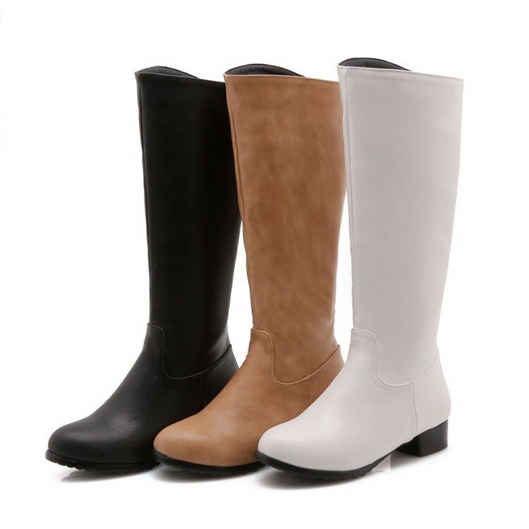 Women Ladies Knee High Boots Low Casual shoes Heel Pull On Preppy Simple US  242