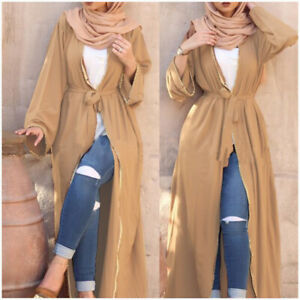 Women-039-s-Abaya-Muslim-Long-Maxi-Party-Dress-Open-Front-Dubai-Kaftan-Cardigan-Robe
