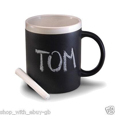 BLACK CHALK MUG COLOURED TRIM - KITCHEN CERAMIC CUP CHALK - TEA/COFFEE/NOVELTY