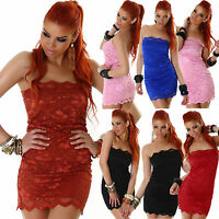 Sexy New Women Bandeau Top Lace Cocktail Ladies Mini Dress Party Size 6 8 10 S M