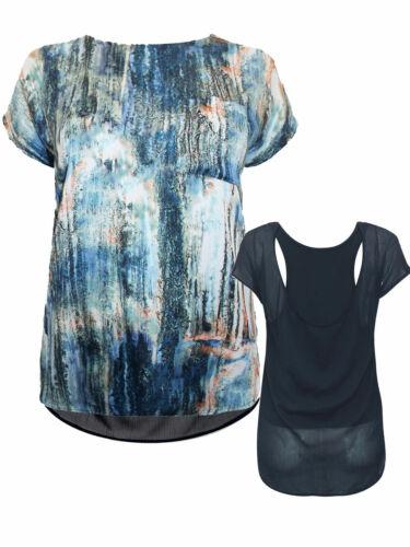 Neuf Prochain Femmes Bleu marine à motifs poche top Dos nageur