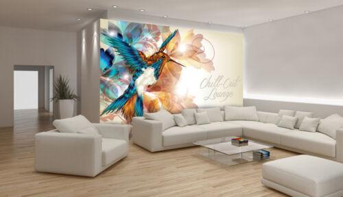 -Kolibri Vogel Orchideen Pflanzen Blüten 780 VLIES Fototapete-BLUMEN-DESIGN-