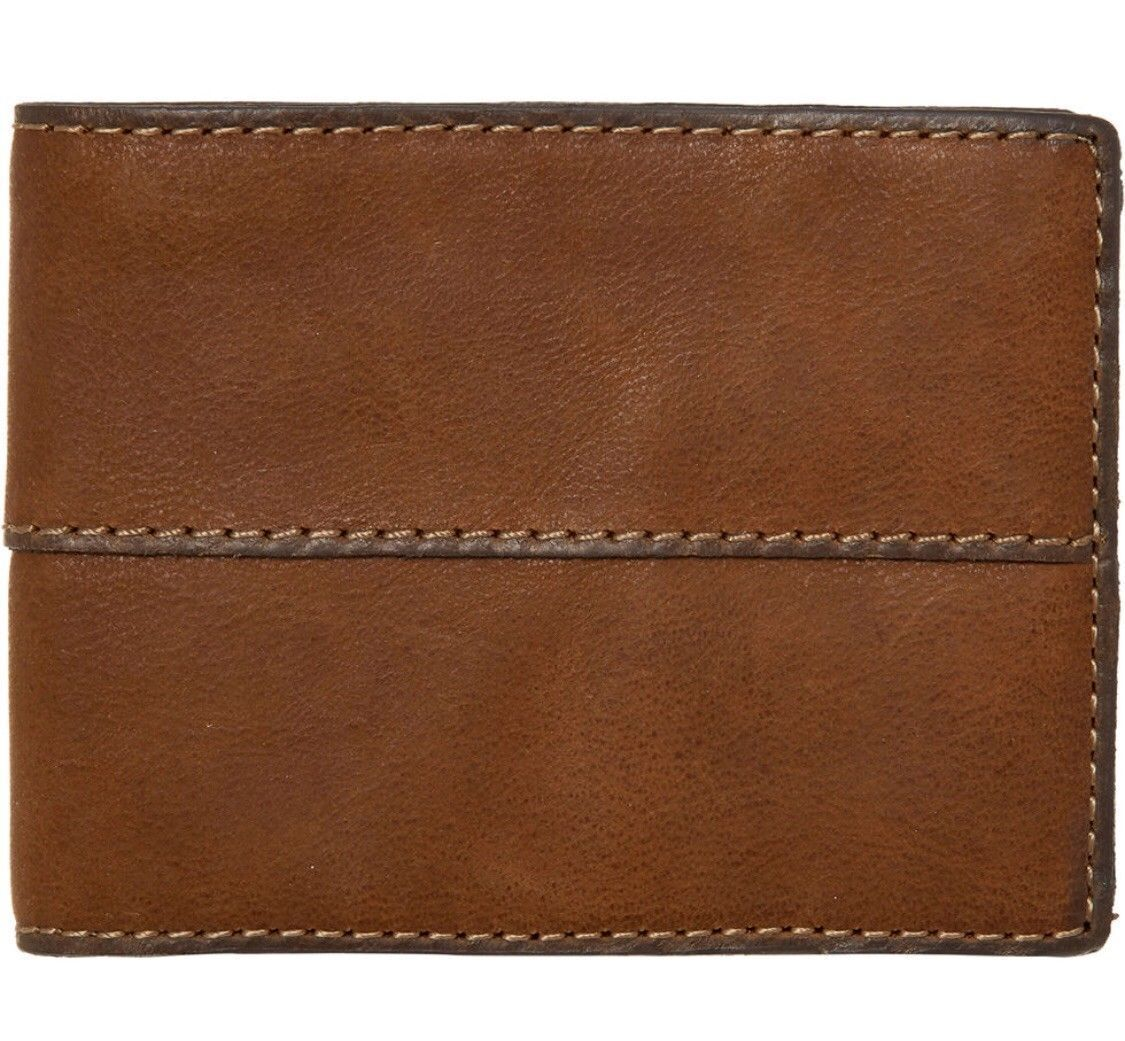 Fossil Ethan Medium Brown Cow Hide Leather Trifold Wallet with Coin Pocket