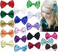 Baby Girls Solid Color Satin Hair Ribbon Bow Alligator Clip Accessory Headband