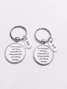 Best Friends True Friendship Long Distance Sisters BFF Gift Keychain Set