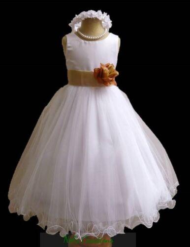 White Formal Communion Flower Girl Pageant Birthday Tulle Dress Sash bridesmaid
