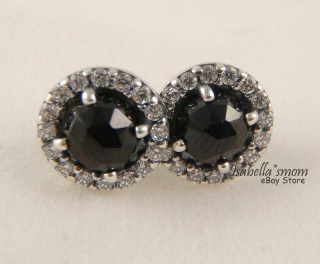Glamorous Legacy Genuine Pandora Black Spinel Earring Studs 290548spb New W Box